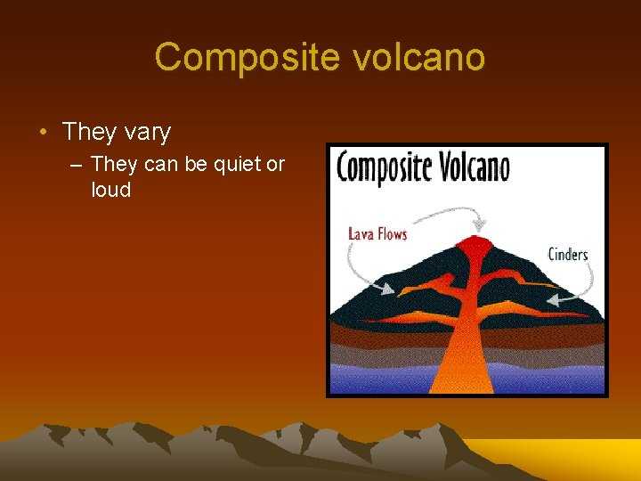 Composite volcano • They vary – They can be quiet or loud