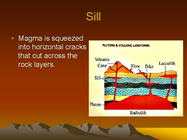 Sill • Magma is squeezed into horizontal cracks that cut across the rock layers.