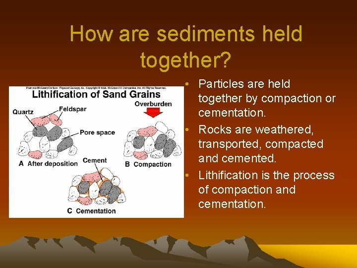 How are sediments held together? • Particles are held together by compaction or cementation.