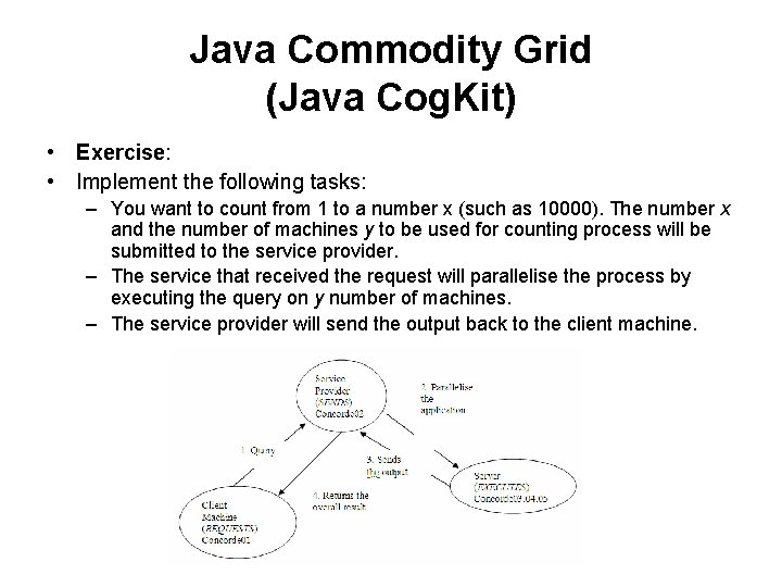 Java Commodity Grid (Java Cog. Kit) • Exercise: • Implement the following tasks: –