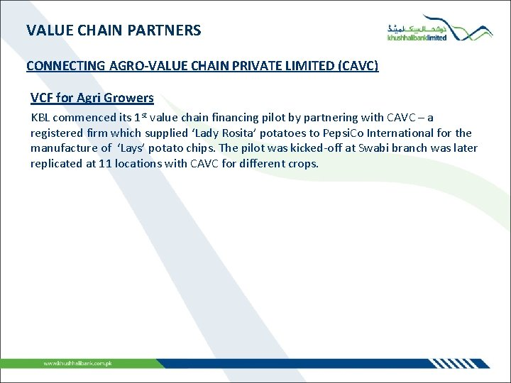VALUE CHAIN PARTNERS CONNECTING AGRO-VALUE CHAIN PRIVATE LIMITED (CAVC) VCF for Agri Growers KBL