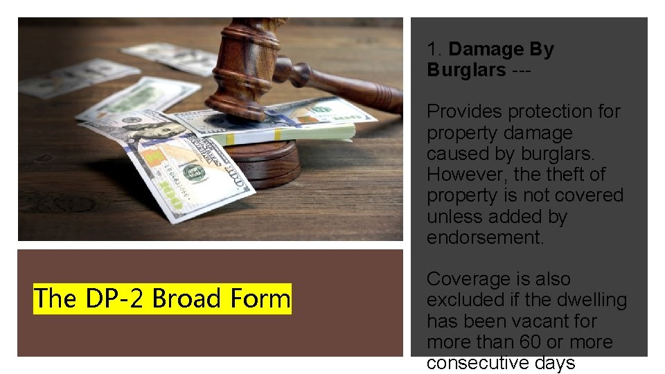 1. Damage By Burglars --Provides protection for property damage caused by burglars. However, theft