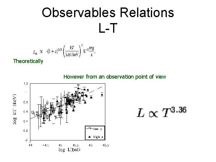 Observables Relations L-T Theoretically However from an observation point of view