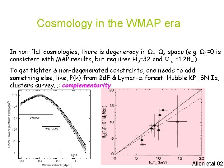 Cosmology in the WMAP era In non-flat cosmologies, there is degeneracy in m- space