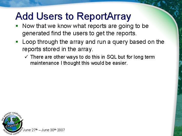 Add Users to Report. Array § Now that we know what reports are going
