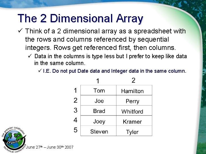 The 2 Dimensional Array ü Think of a 2 dimensional array as a spreadsheet