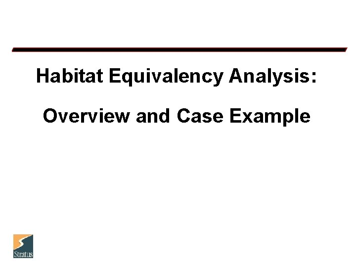 Habitat Equivalency Analysis: Overview and Case Example
