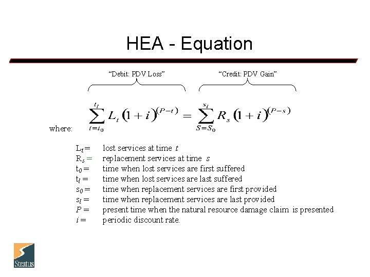 "HEA - Equation ""Debit: PDV Loss"" ""Credit: PDV Gain"" where: Lt = Rs ="