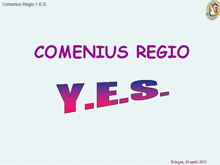Comenius Regio Y. E. S. COMENIUS REGIO Bologna, 26 aprile 2010