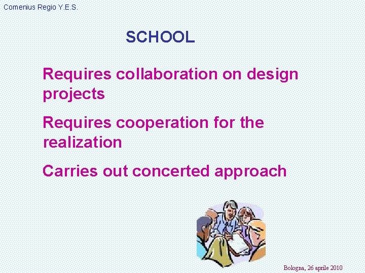 Comenius Regio Y. E. S. SCHOOL Requires collaboration on design projects Requires cooperation for