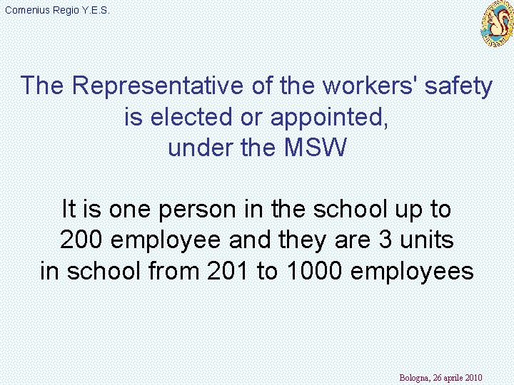 Comenius Regio Y. E. S. The Representative of the workers' safety is elected or