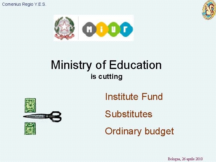 Comenius Regio Y. E. S. Ministry of Education is cutting Institute Fund Substitutes Ordinary