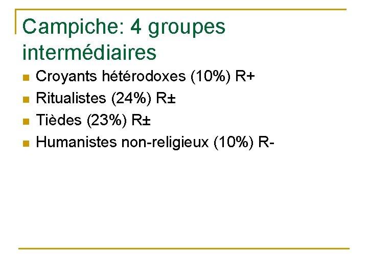 Campiche: 4 groupes intermédiaires n n Croyants hétérodoxes (10%) R+ Ritualistes (24%) R± Tièdes