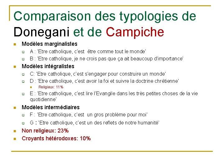 Comparaison des typologies de Donegani et de Campiche n Modèles marginalistes q q n