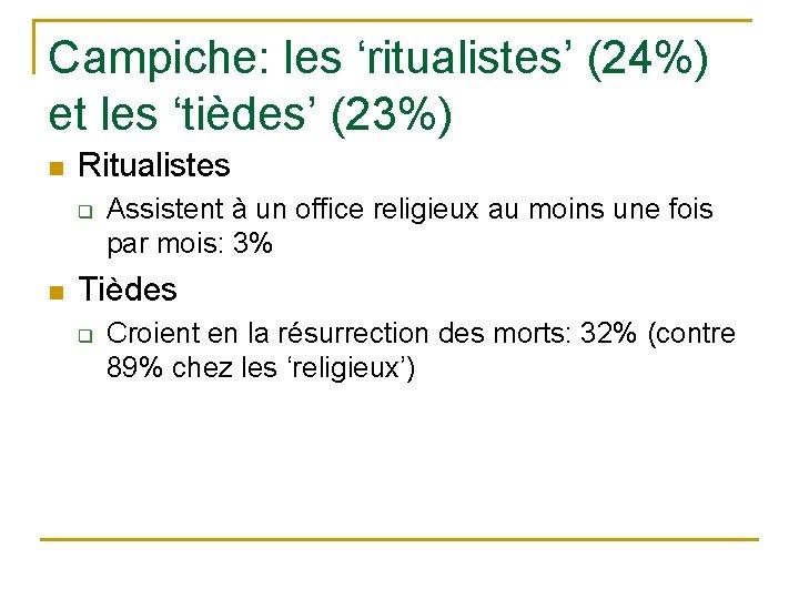 Campiche: les 'ritualistes' (24%) et les 'tièdes' (23%) n Ritualistes q n Assistent à