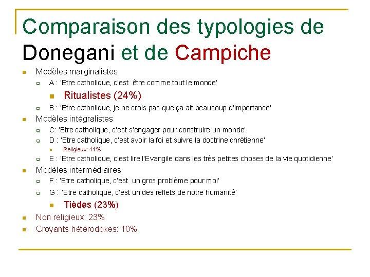 Comparaison des typologies de Donegani et de Campiche n Modèles marginalistes q A :
