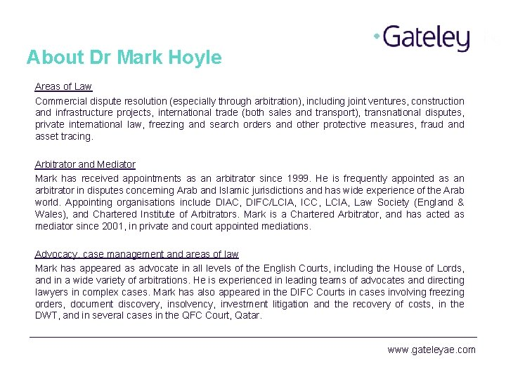 About Dr Mark Hoyle Areas of Law Commercial dispute resolution (especially through arbitration), including