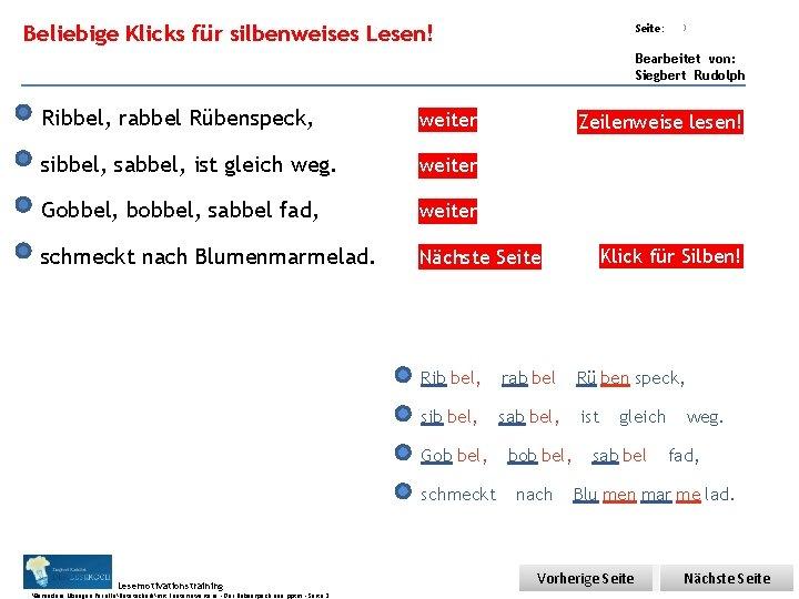Übungsart: Beliebige Klicks für silbenweises Lesen! Seite: 3 Bearbeitet von: Siegbert Rudolph Ribbel, rabbel