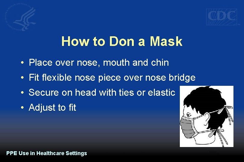How to Don a Mask • Place over nose, mouth and chin • Fit
