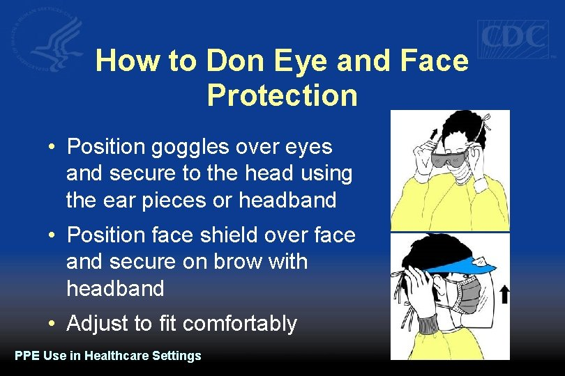 How to Don Eye and Face Protection • Position goggles over eyes and secure