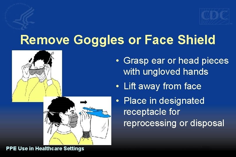 Remove Goggles or Face Shield • Grasp ear or head pieces with ungloved hands