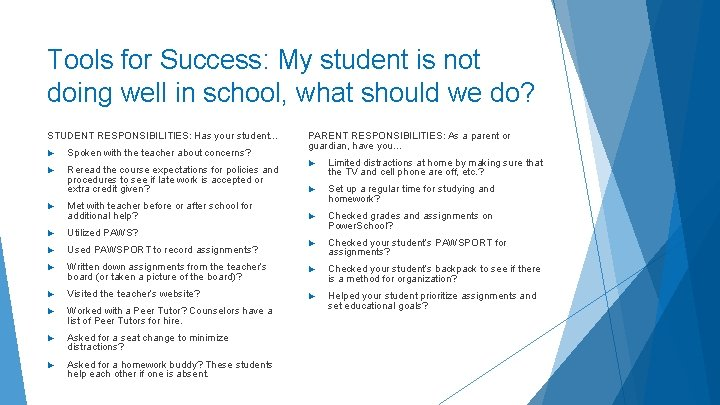 Tools for Success: My student is not doing well in school, what should we