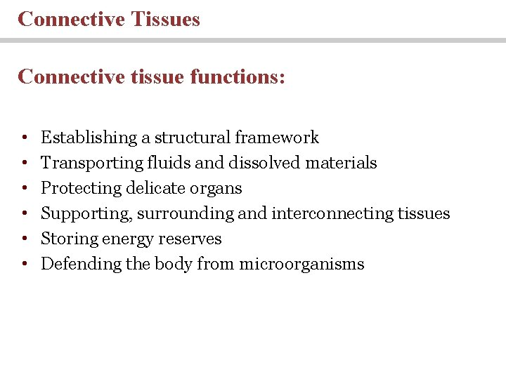 Connective Tissues Connective tissue functions: • • • Establishing a structural framework Transporting fluids