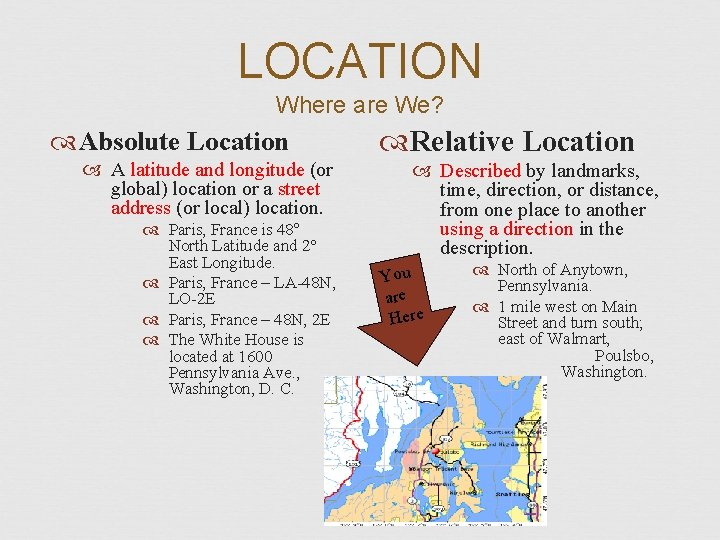 LOCATION Where are We? Absolute Location A latitude and longitude (or global) location or