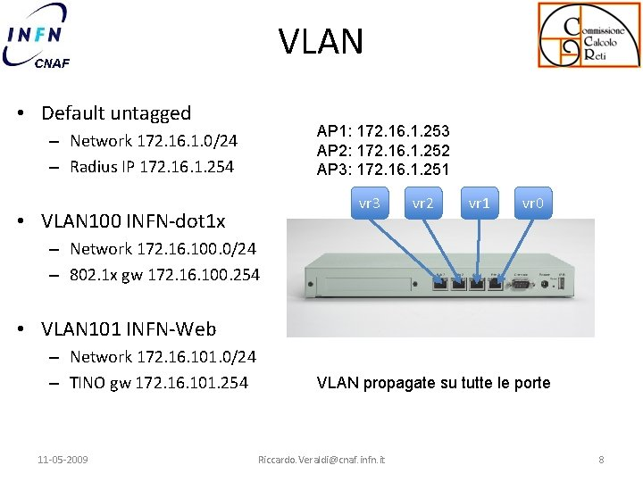 VLAN • Default untagged AP 1: 172. 16. 1. 253 AP 2: 172. 16.