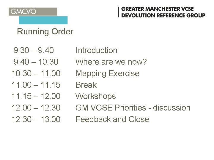 Running Order 9. 30 – 9. 40 – 10. 30 – 11. 00 –