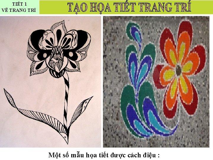 TIẾT 1 VẼ TRANG TRÍ Một số mẫu họa tiết được cách điệu :