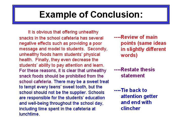Example of Conclusion: It is obvious that offering unhealthy snacks in the school cafeteria