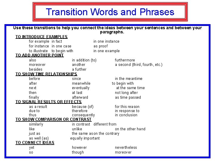 Transition Words and Phrases Use these transitions to help you connect the ideas between
