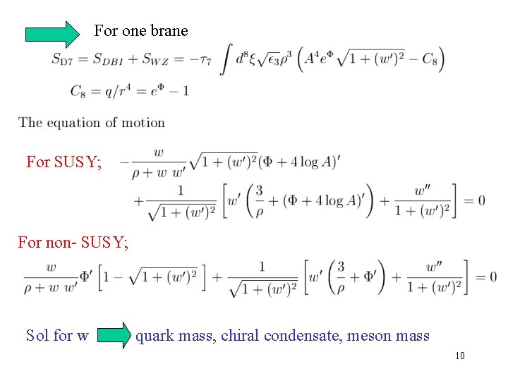 For one brane For SUSY; For non- SUSY; Sol for w quark mass, chiral