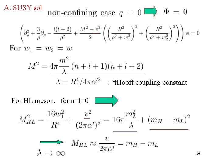 A: SUSY sol : 't. Hooft coupling constant For HL meson, for n=l=0 14