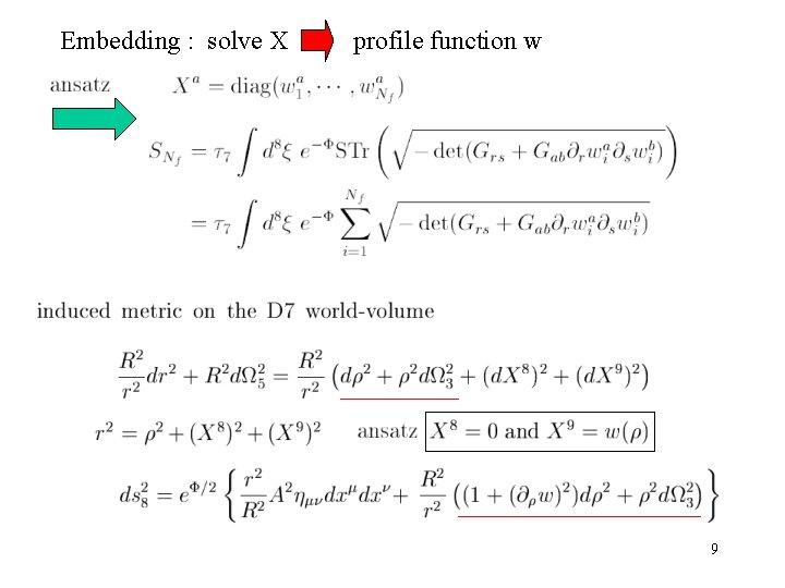 Embedding : solve X profile function w 9