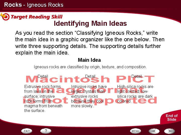 """Rocks - Igneous Rocks Identifying Main Ideas As you read the section """"Classifying Igneous"""