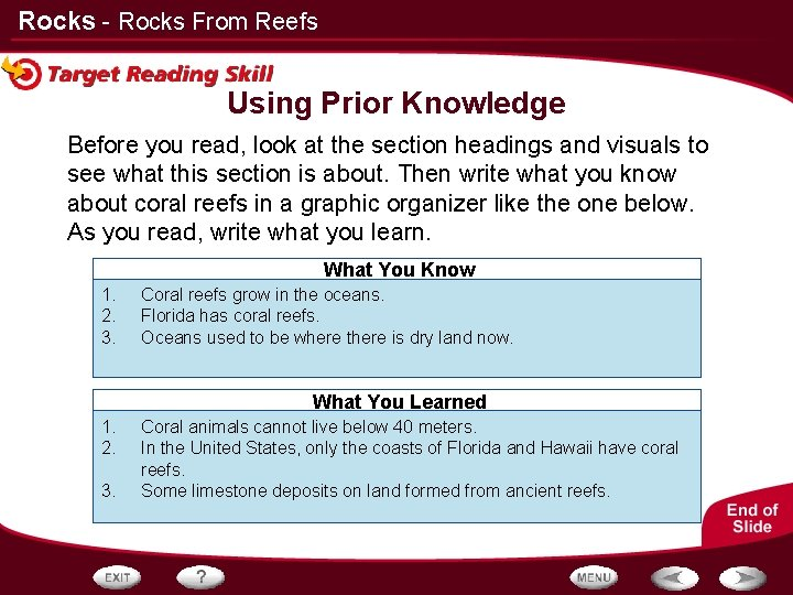 Rocks - Rocks From Reefs Using Prior Knowledge Before you read, look at the