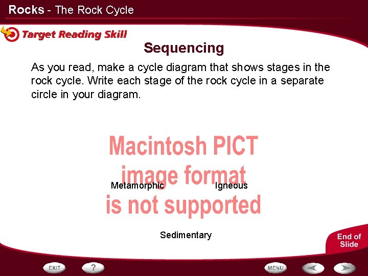 Rocks - The Rock Cycle Sequencing As you read, make a cycle diagram that