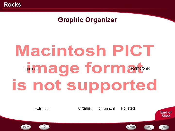 Rocks Graphic Organizer Metamorphic Igneous Extrusive Organic Chemical Foliated