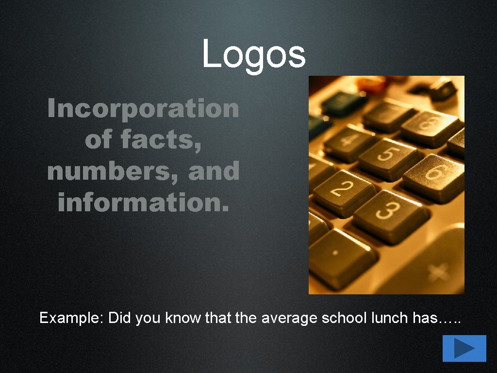 Logos Incorporation of facts, numbers, and information. Example: Did you know that the average