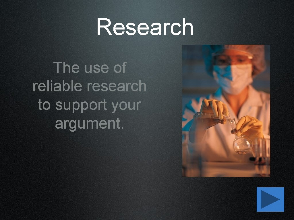 Research The use of reliable research to support your argument.