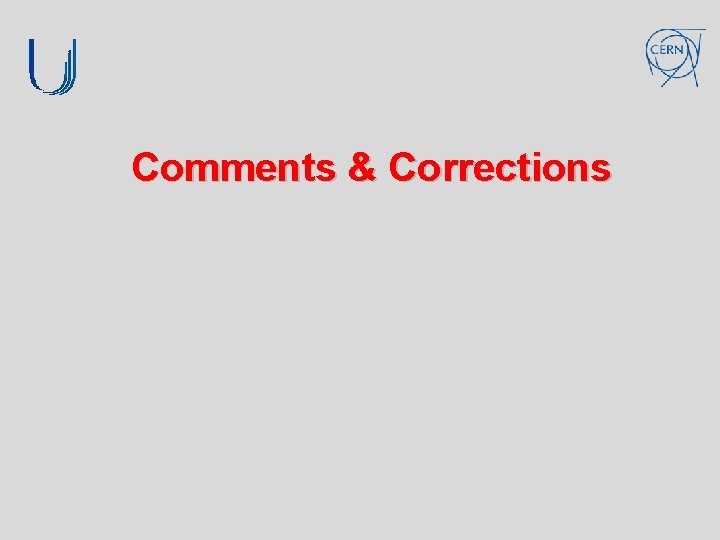 Comments & Corrections