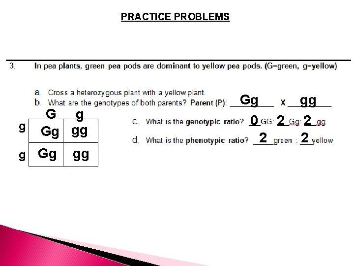 PRACTICE PROBLEMS g G g Gg gg 0 2 2 2