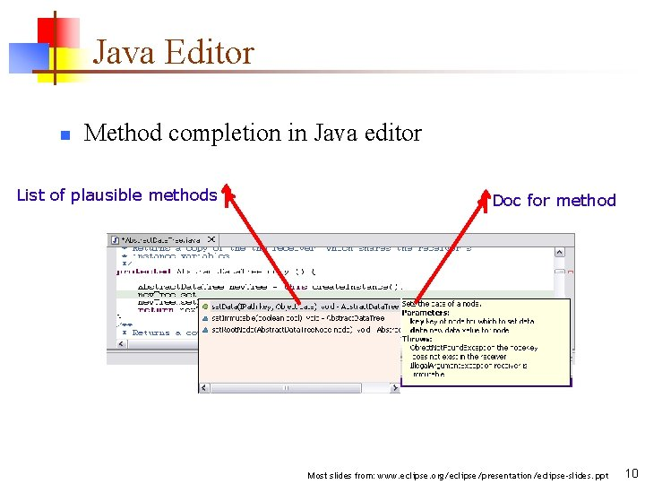 Java Editor n Method completion in Java editor List of plausible methods Doc for