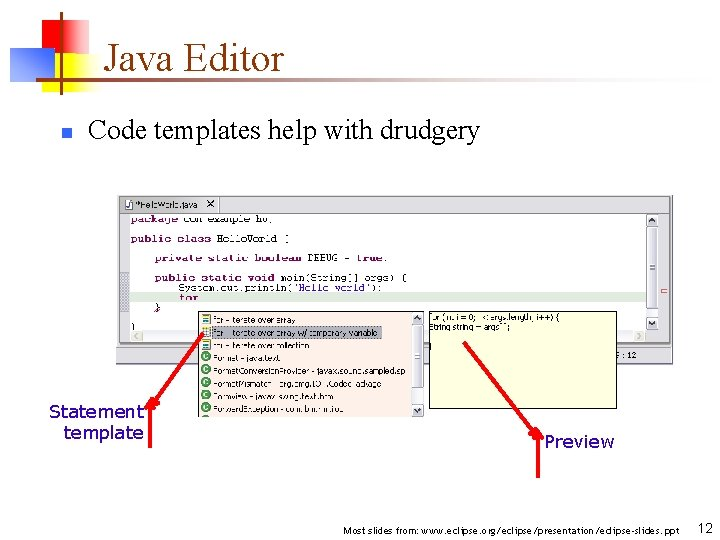 Java Editor n Code templates help with drudgery Statement template Preview Most slides from: