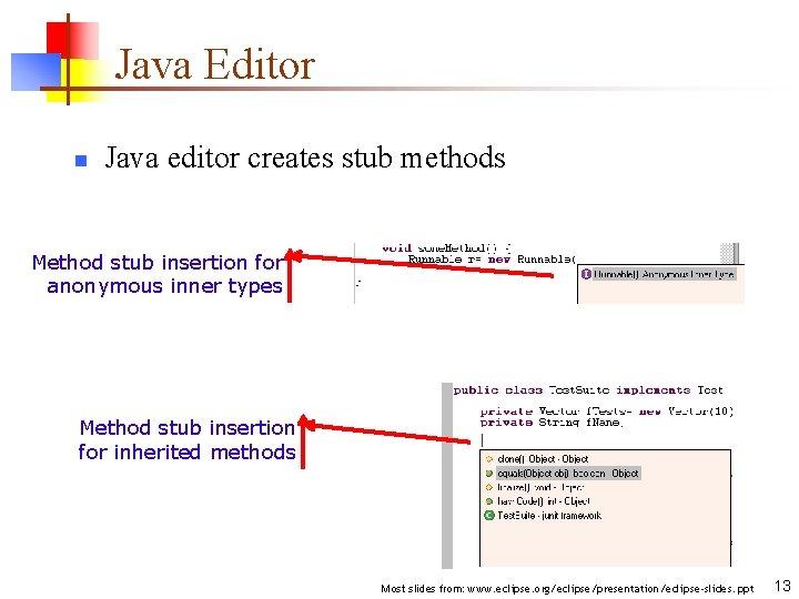 Java Editor n Java editor creates stub methods Method stub insertion for anonymous inner