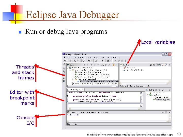 Eclipse Java Debugger n Run or debug Java programs Local variables Threads and stack