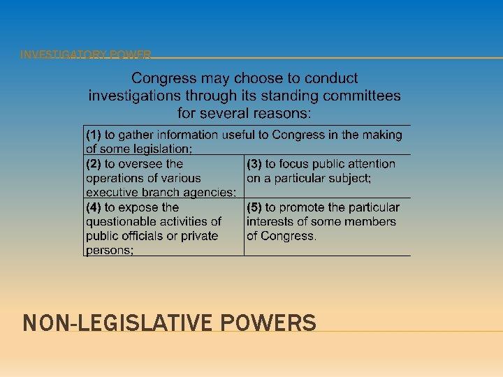 INVESTIGATORY POWER NON-LEGISLATIVE POWERS