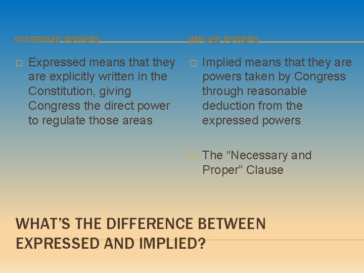 EXPRESSED POWERS � Expressed means that they are explicitly written in the Constitution, giving